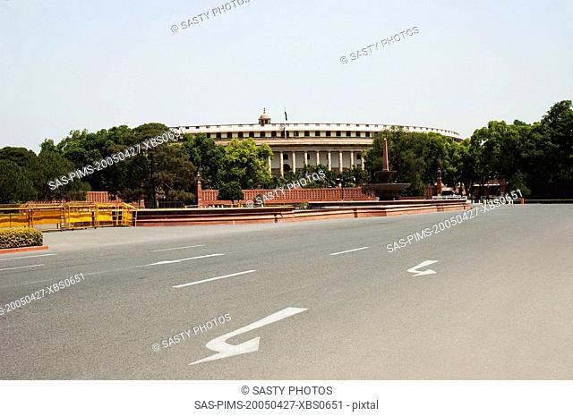 Facade of a government building, Sansad Bhavan, New Delhi, India