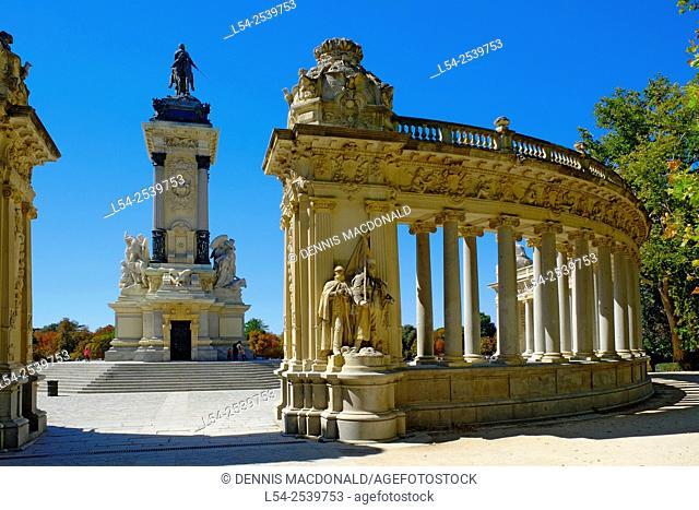Monument Alfonso XII Retiro Park Madrid Spain ES