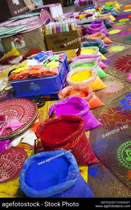 Pigments of colors and screens for colouring pictured at the street market in New Delhi, India on 23 October 2019. These pigments and screens are used for...