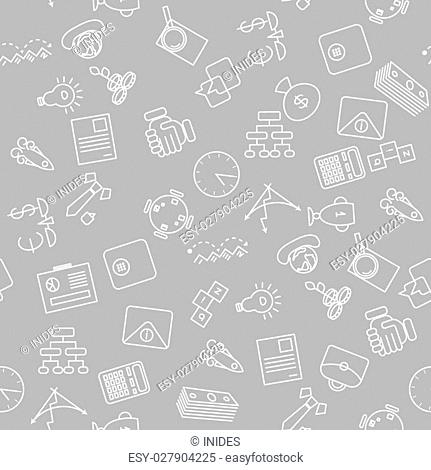 Thin line icons seamless pattern. Business, commerce and finance icon grey background for websites, apps, presentations, cards, templates