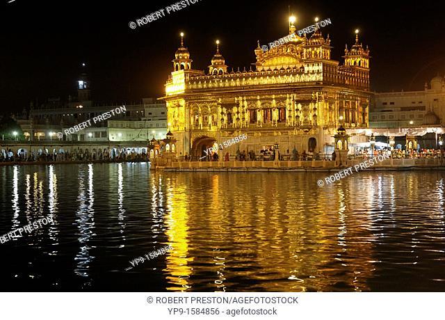 The Golden Temple at night, Amritsar, Punjab, India