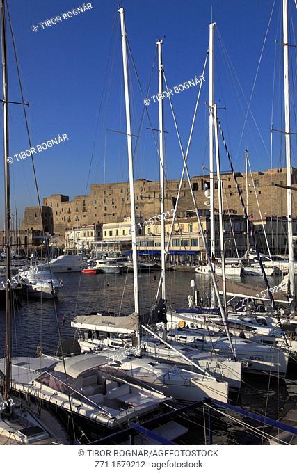 Italy, Campania, Naples, Castel dell Ovo, castle, Santa Lucia harbor