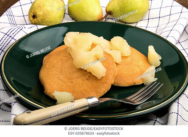 fresh buttermilk pancake with home made pear compote