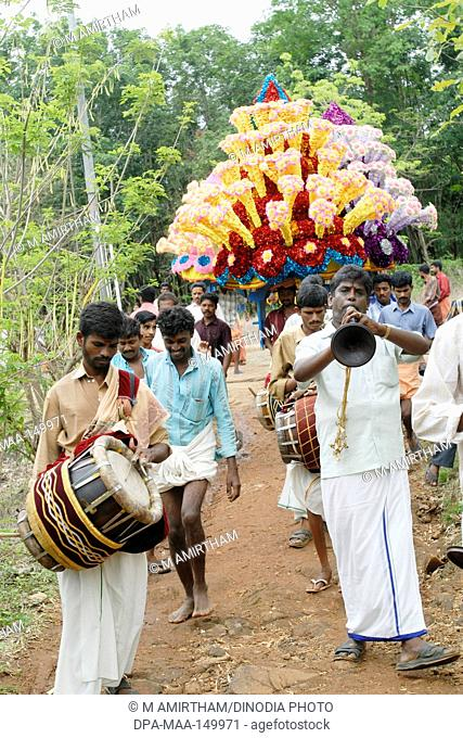 Musicians playing for temple festival ; Kerala ; India