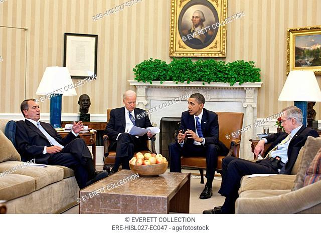 President Obama and VP Joe Biden meet with House Speaker John Boehner and Senate Majority Leader Harry Reid in budget negotiations. April 7 2011