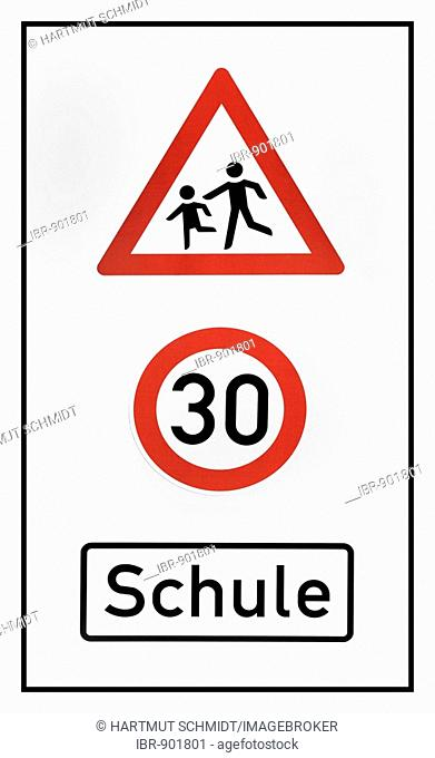 Information sign, children playing, 30km/h school zone