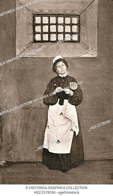 Emmeline Pankhurst, British suffragette, in a cell in Holloway Prison, London, 1908. Emmeline Pankhurst (1857-1918) and her daughter Christabel (1880-1958)