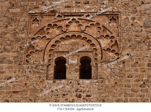 artistic detail on the Koutoubia Mosque of Marrakech, Morocco