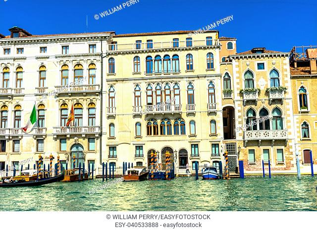 Colorful Grand Canal Boats Reflections Venice Italy