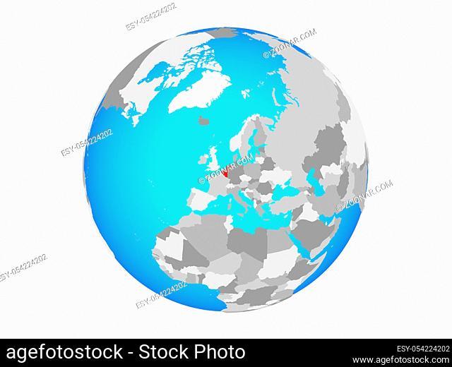 Benelux Union on blue political globe. 3D illustration isolated on white background