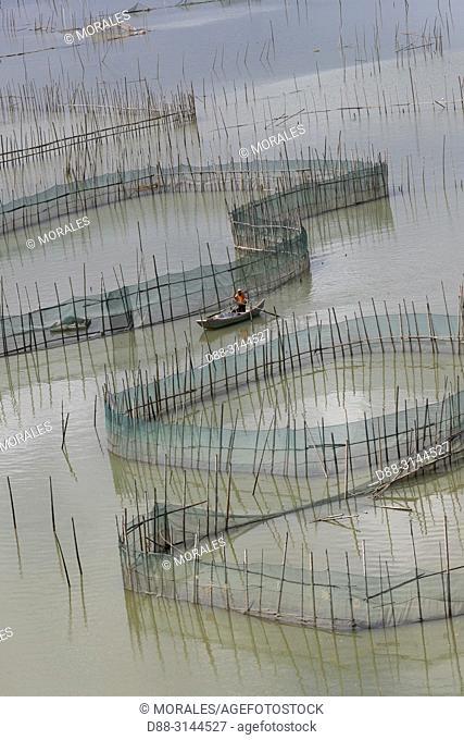 Chine, Chine du Sud, Province de Fujiang, Région de Xiapu, Cages avec filets pour l'élevage de poissons en pleine mer, Pisciculture, bateau / China