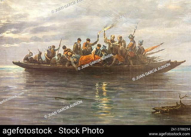 Secret burial of Hernando de Soto in the Mississippi River at night 1542. Painted by Rafael Monleon y Torres in 1887. Madrid Navy Museum, Spain