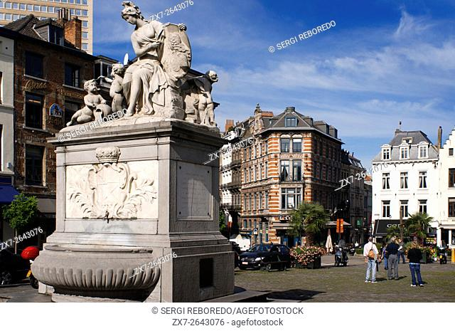 Fountain by Jacques Berge in 1751 at the Place du Grand Sablon, Brussels, Belgium. At number 40 is the Musée des Postes et Telecommunications