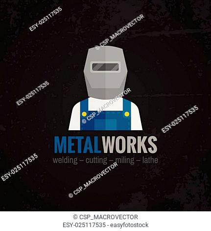 Metalworking icon poster flat
