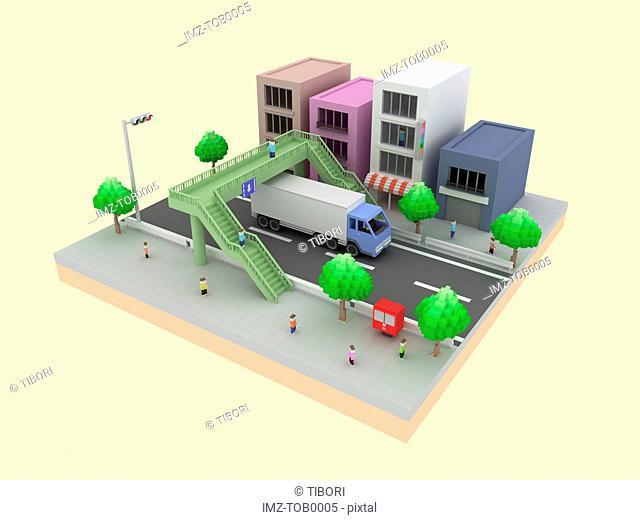 A 3D style image a city street