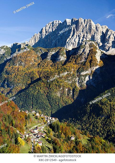 Mount Civetta in the Veneto. La Civetta is one of the icons of the Dolomites. In the foreground villages of San Tomaso Agordino