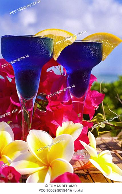 Two tropical cocktails garnished with flowers in outdoor setting
