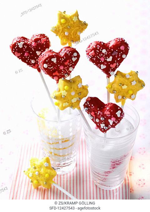 Heart-shaped and star-shaped cake pops