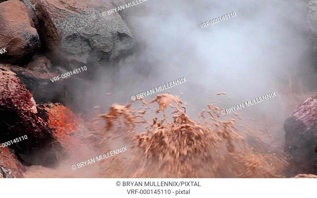 Bubbling mud pot, Red Spouter in Yellowstone National Park