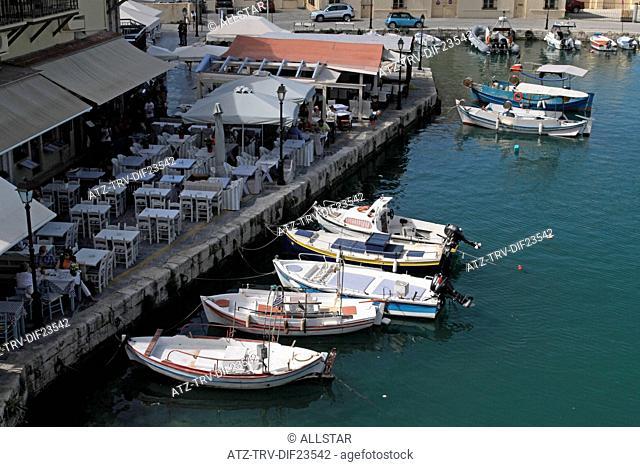 LOOKING DOWN ON FISHING BOATS; RETHYMNON, CRETE, GREECE; 02/05/2014