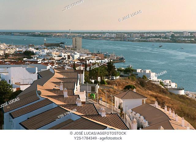 Panoramic view with Guadiana river and Vila Real del Santo Antonio, Portuguese-Spanish border, Ayamonte, Huelva-province, Spain