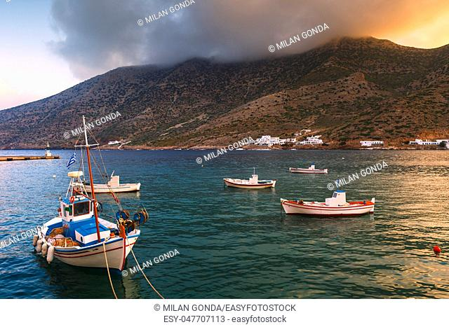 Fishing boats in the port of Kamares village early in the morning.