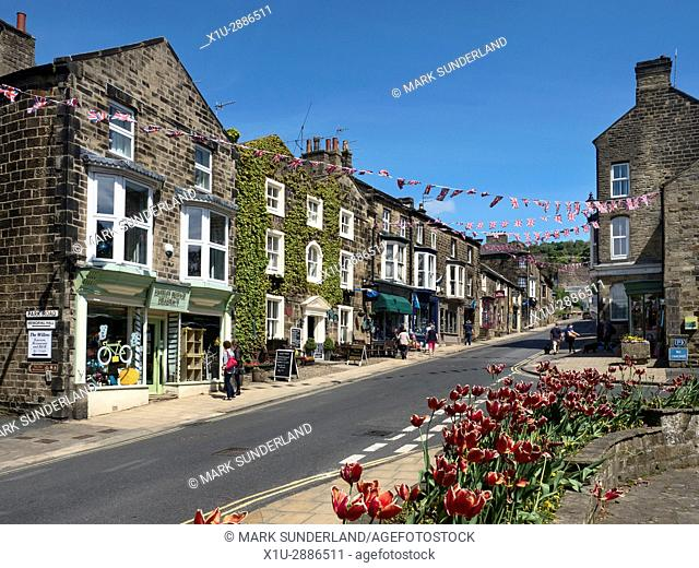 Union Jack Bunting over the High Street at Pateley Bridge in Nidderdale, North Yorkshire, England