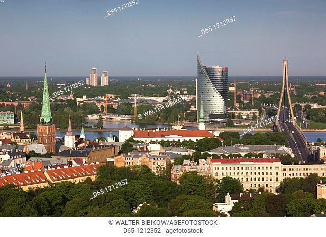 Latvia, Riga, elevated view of Old Riga, Vecriga toward the Daugava River, morning