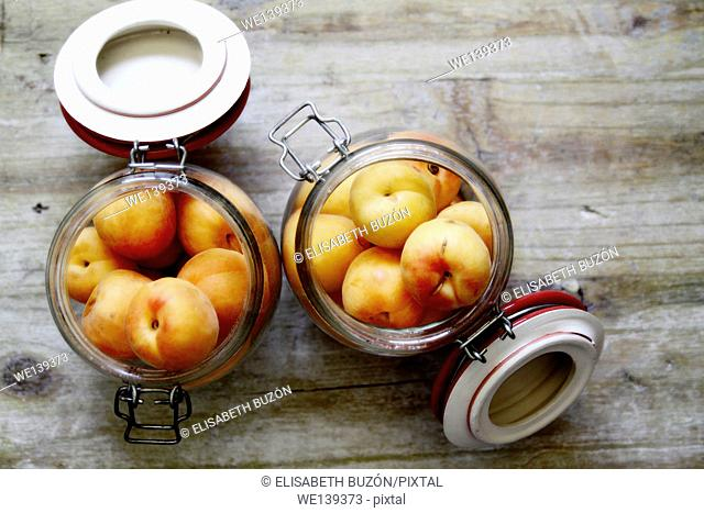 apricots in a glass jar