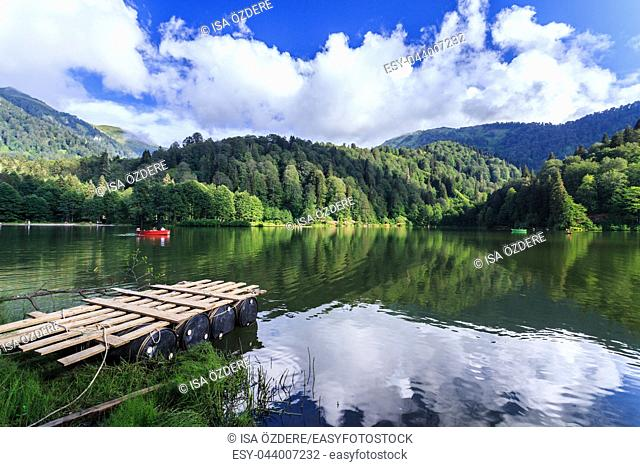 Landscape view of Karagol (Black lake) a popular destination for tourists, locals, campers and travelers in Eastern Black Sea, Savsat, Artvin, Turkey