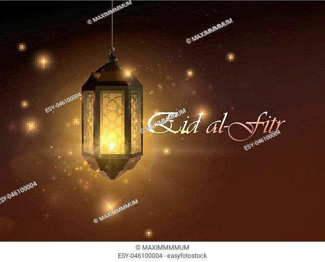 Eid al Fitr. Vector islamic religious illustration of Eid al-Fitr label and glowing arabic lantern. Muslim Feast of Breaking the Fast poster design