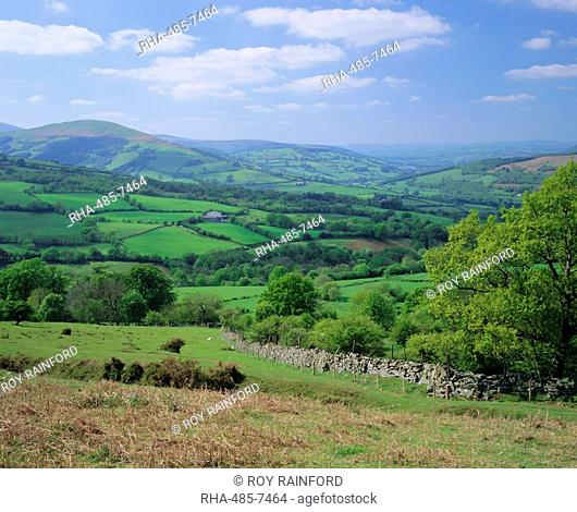Fields in the valleys near Brecon, Powys, Wales, UK, Europe