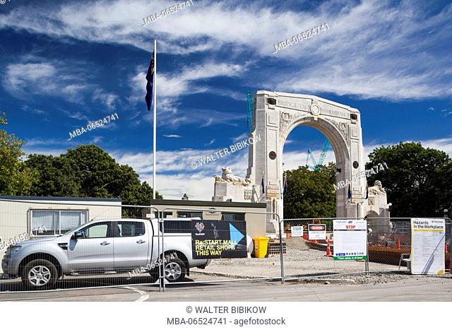 New Zealand, South Island, Christchurch, post 2011 earthquake rebuild of the Memorial Arch over the Avon River