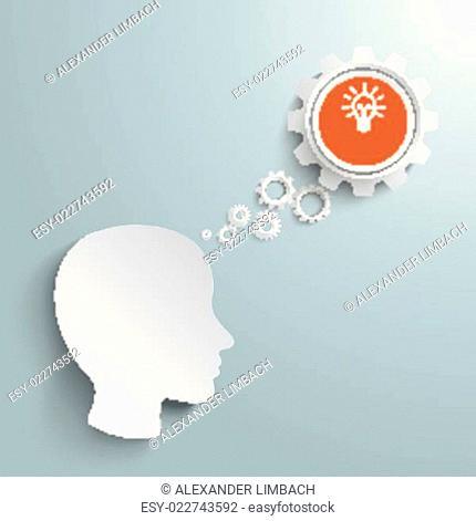 Big Head Speech Bubble Gears Idea PiAd