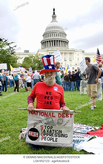 Senior Citizen Uncle Sam at Protest Rally Demonstration at U S  Capitol Building Washington DC Against Government