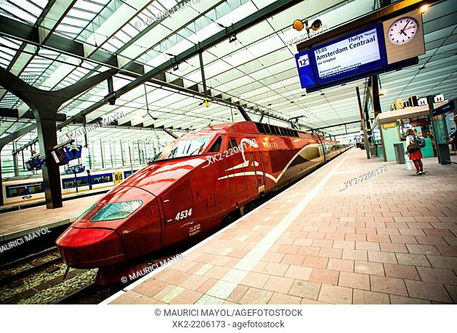 Red Thalys TGV stopped at Rotterdam Centraal Station, Holland