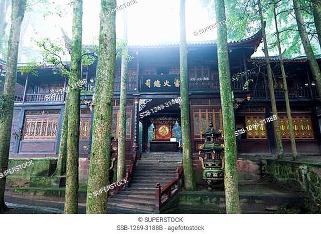 Facade of a palace, Jianfu Palace, Mount Qingcheng, Dujiangyan, Sichuan Province, China