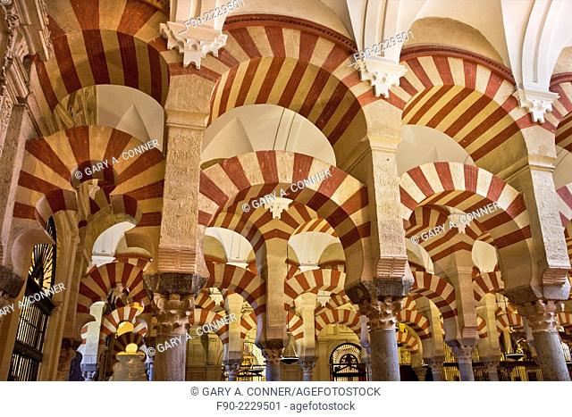 Interior arches, Mosque-Cathedral 8th century, Old Quarter, Cordoba, Spain