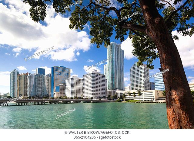 USA, Florida, Miami, city skyline from Brickell Key