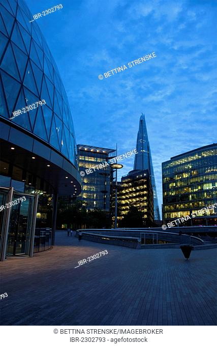 More London Riverside office development with London's City Hall, left, and The Shard London Bridge, at back, London, England, United Kingdom, Europe