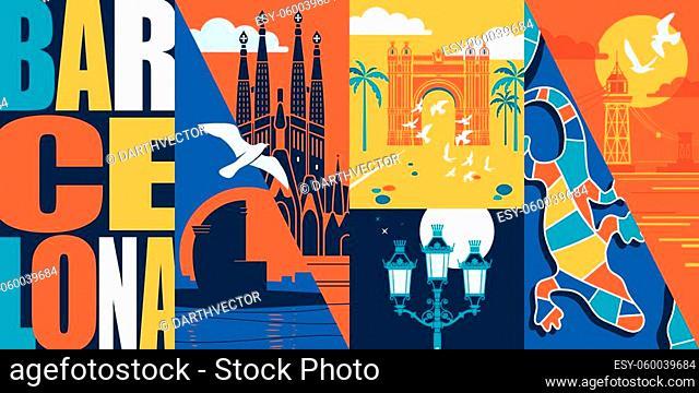 Spain, Catalonia vector skyline illustration, postcard. Travel to Barcelona modern flat graphic design element with Spanish