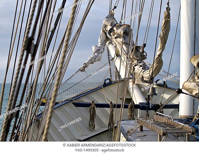 Tallship Thalassa sailing  Bay of Biscay, France, Europe