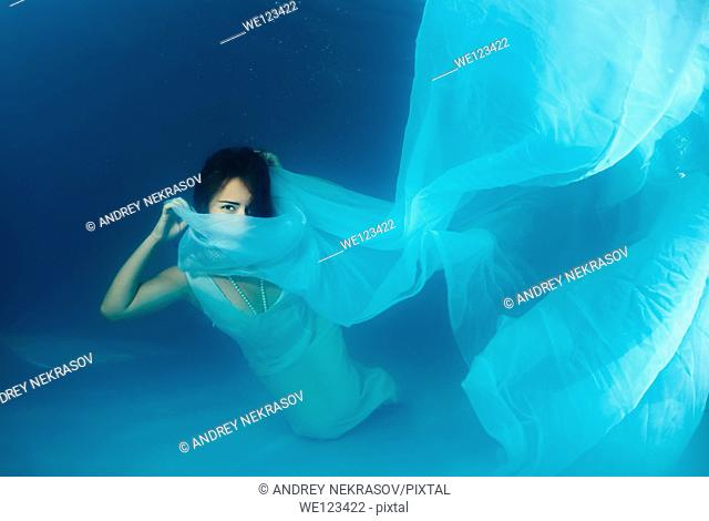 Bride, underwater wedding in a pool, Odessa, Ukraine, Eastern Europe