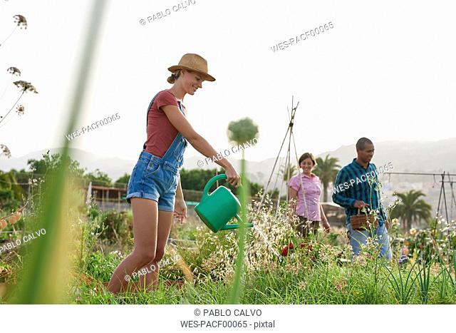 Smiling young farmer with watering can and friends in the background