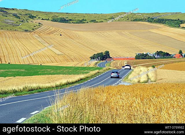 Road and country near Escalles, Normandy