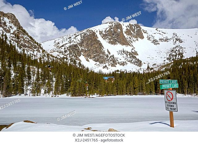 St. Mary's, Colorado - A sign prohibits public fishing in Silver Lake, a private lake in the Rocky Mountains