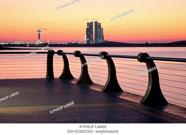 Corniche in Abu Dhabi at sunset. United Arab Emirates