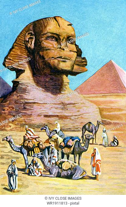 This illustration dates to 1902. Egyptian sphinxes were sculpted as reclining figures, usually with heads of males - often those of the reigning ruler