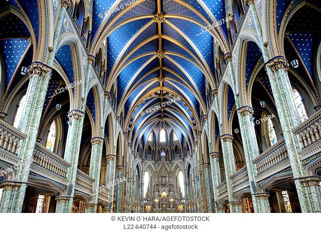 Cathedral and Basilica of Notre Dame (1839-1885). It stands on the site that was occupied by the first Catholic chapel. City of Ottawa (federal capital)