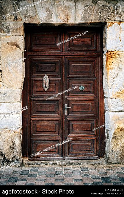 Old Weathered Wooden Door of Historic Spanish Colonial Home